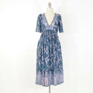 Rebecca Taylor Teal Floral Silk Midi Dress